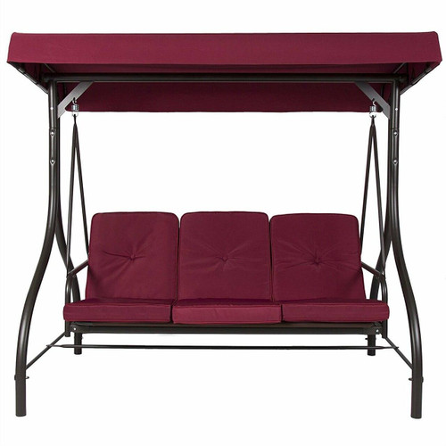 FastFurnishings Burgundy Outdoor Patio Deck Porch Canopy Swing with Cushions