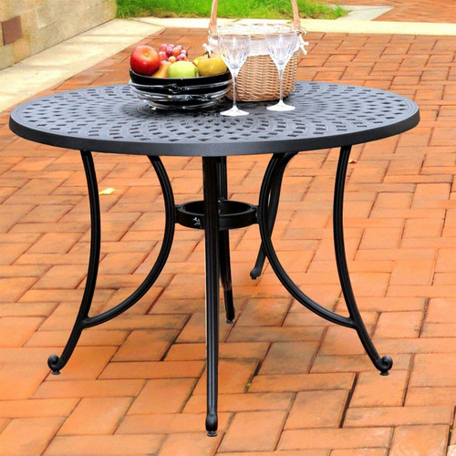 FastFurnishings Round 42-inch Cast Aluminum Outdoor Dining Table in Charcoal Black