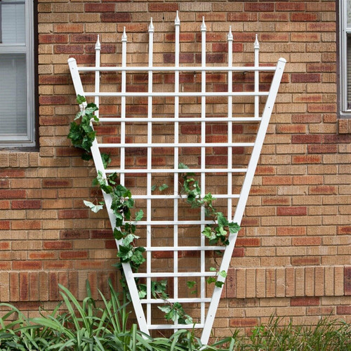 FastFurnishings 7.75 Ft Fan Shaped Garden Trellis with Pointed Finals in White Vinyl