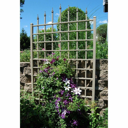 FastFurnishings 8 Ft Vinyl Trellis in Mocha Brown with Wall Mounting Hardware