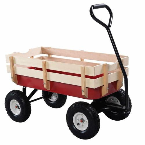 FastFurnishings Sturdy Red Wood Panel Garden Cart Wagon