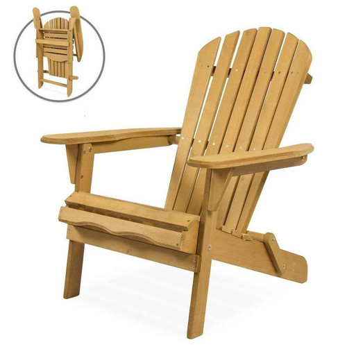 FastFurnishings All Weather Adirondack Large Foldable Chair Natural Finish