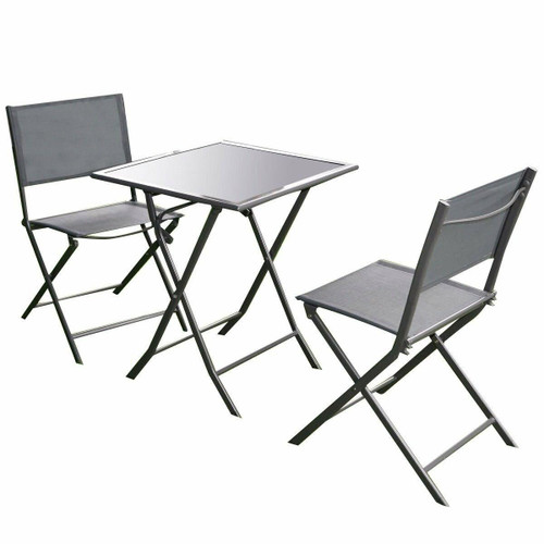 FastFurnishings Outdoor 3-Piece Patio Furniture Folding Table Chair Set