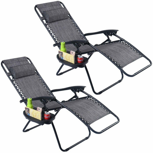 FastFurnishings Set of 2 Grey Folding Outdoor Zero Gravity Lounge Chair Recliner