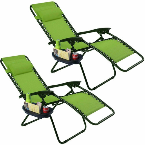FastFurnishings Set of 2 Green Folding Outdoor Zero Gravity Lounge Chair Recliner