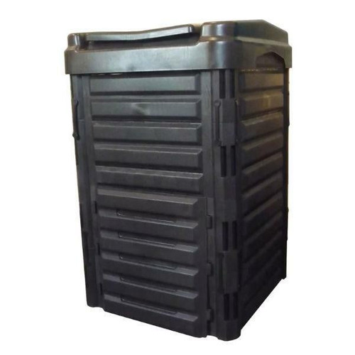 FastFurnishings Heavy Duty Black Plastic Compost Bin for Home Garden Composting 80-Gallon
