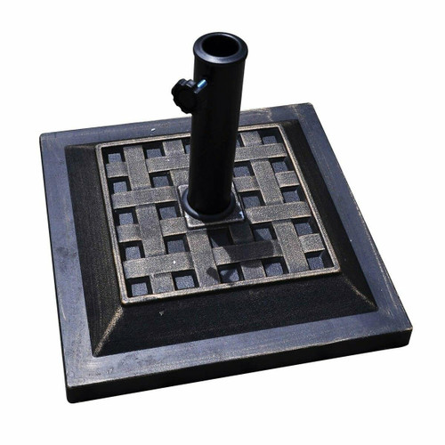 FastFurnishings Bronze Finish Square Heavy Duty Outdoor Umbrella Stand Base