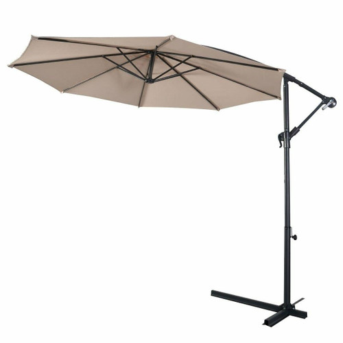 FastFurnishings Beige 10-Ft Outdoor Steel Pole Tilt Crank Offset Patio Umbrella