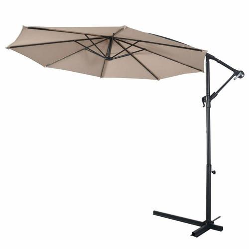 FastFurnishings Beige 10-Ft Outdoor Steel Pole Tilt Crank Offset Patio Umbrella