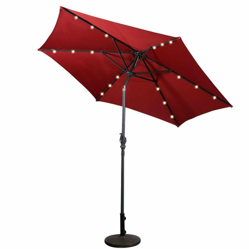 FastFurnishings Burgundy 9-Ft Patio Umbrella with Steel Pole Crank Tilt and Solar LED Lights