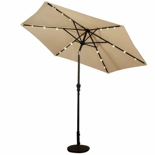FastFurnishings Beige 9-Ft Patio Umbrella with Steel Pole Crank Tilt and Solar LED Lights