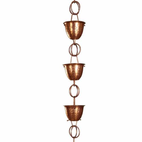 FastFurnishings Hammered Copper Cups 8.5-Feet Rain Chain Rain Gutter Downspout Alternative