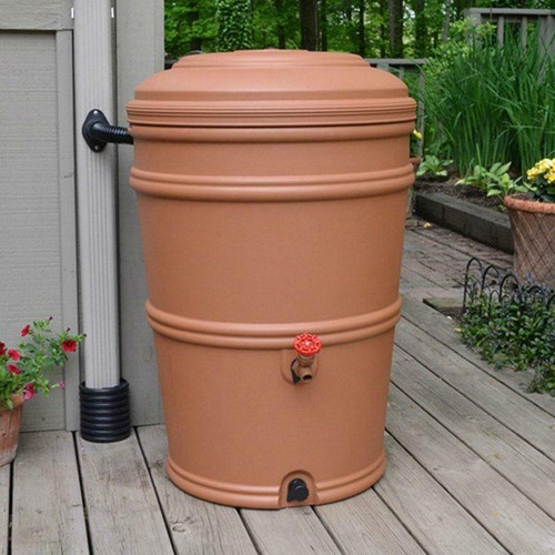 FastFurnishings 45-Gallon Plastic Rain Barrel with Flexi-Fit Rain Gutter Diverter in Terra Cotta