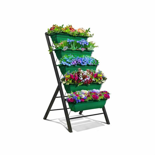 FastFurnishings 4 FT 5 Tier Green Vertical Garden Indoor/Outdoor Elevated Planter