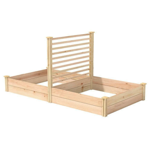 FastFurnishings 4 ft x 8 ft Cedar Wood Raised Garden Bed with Trellis - Made in USA