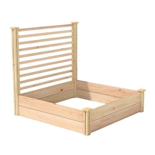 FastFurnishings 4 ft x 4 ft Cedar Wood Raised Garden Bed with Trellis - Made in USA