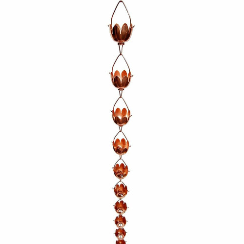 FastFurnishings Lily Lotus Flower 100percent Copper 8-Foot Rain Chain