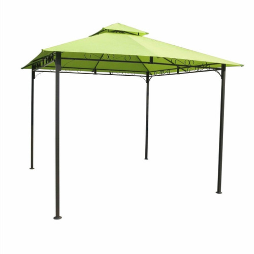 FastFurnishings 10Ft x 10Ft Weather Resistant Gazebo with Lime Green Canopy