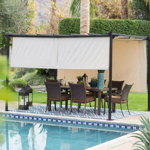 FastFurnishings 10-ft x 12-ft Dark Brown Metal Pergola Outdoor Gazebo with Ivory Shade Canopy