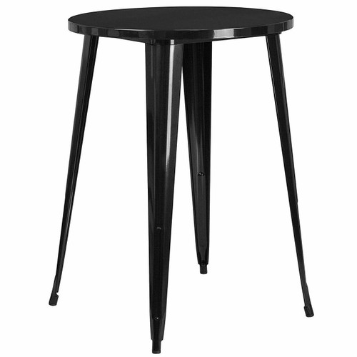 FastFurnishings Modern 30-inch Outdoor Round Metal Cafe Bar Patio Table in Black