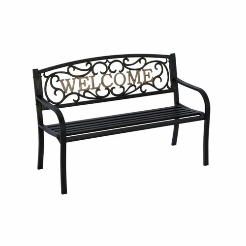 FastFurnishings Cast Iron Welcome Park Bench Outdoor Patio Garden in Black Bronze