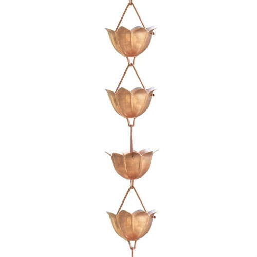 FastFurnishings Lotus Flower 8.5-Ft Pure Copper Rain Chain for Rainwater Downspout