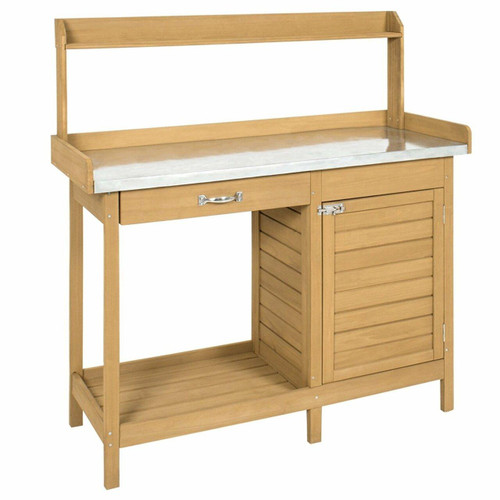 FastFurnishings Natural Fir Wood Potting Bench Garden Work Table with Metal Top