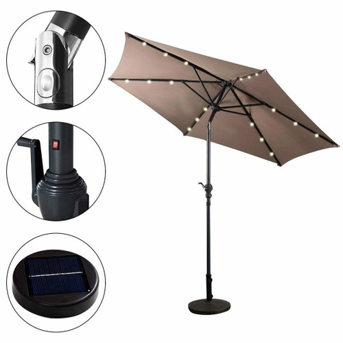 FastFurnishings Tan 9-Ft Patio Umbrella with Steel Pole Crank Tilt and Solar LED Lights