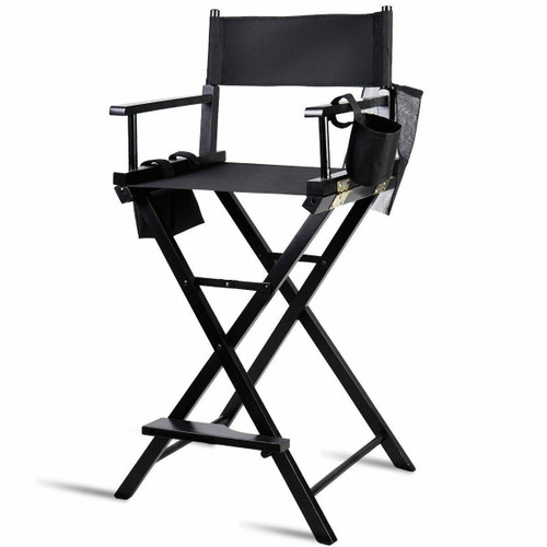 FastFurnishings Outdoor Patio Folding Directors Chair with Foot Rest and Drink Holder in Black