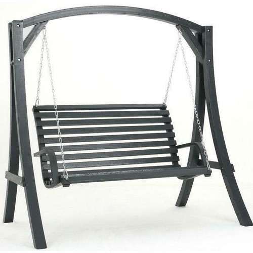 FastFurnishings Outdoor Wooden Hanging Porch Swing with Stand in Grey Wood Finish