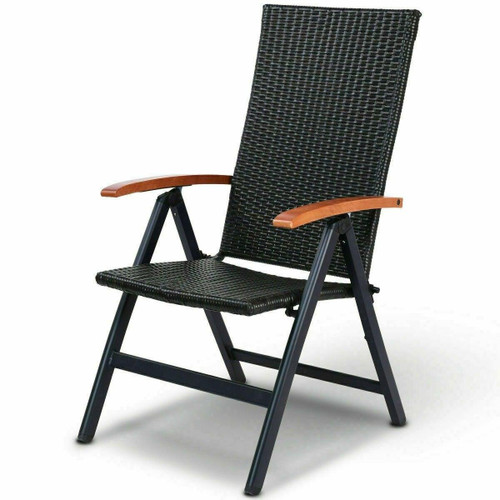 FastFurnishings Outdoor Heavy Duty Folding Rattan Patio Chair with Wood Armrest