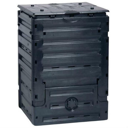 FastFurnishings UV-Resistant Black Recycled Plastic Compost Bin with Lid - 79 Gallon