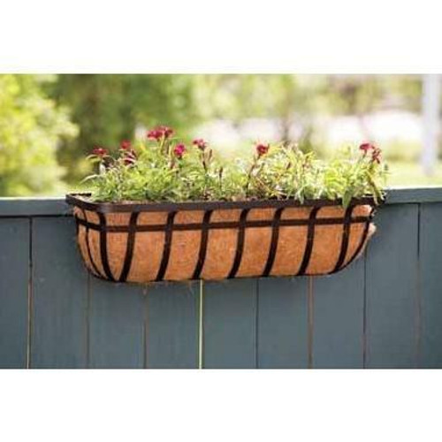 FastFurnishings 30-inch Window/Deck Planter with Coco Liner in Black
