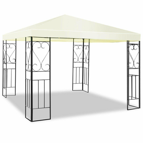 FastFurnishings 10 x 10 Ft Outdoor Steel Frame Gazebo Shelter with Waterproof Polyester Canopy