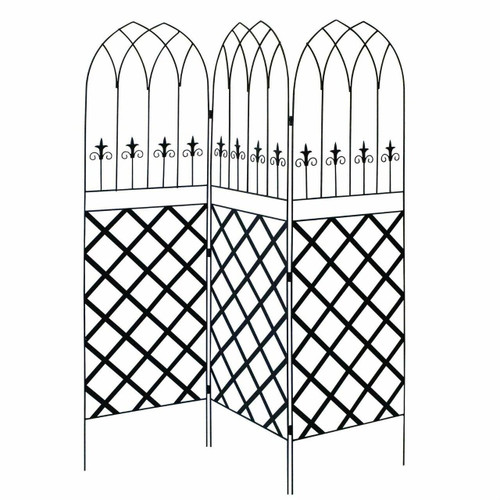 FastFurnishings 6-Ft High 3-Panel Black Metal Lattice Screen Garden Trellis