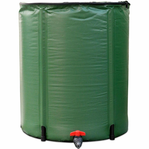 FastFurnishings Portable 60-Gallon Rain Barrel Collapsible with Zippered Top in Green Color