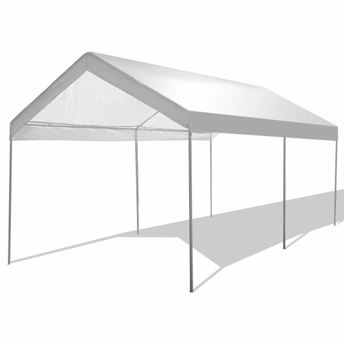 FastFurnishings 10 x 20 Ft Outdoor Steel Frame Gazebo Tent Car Canopy with White Poly Top