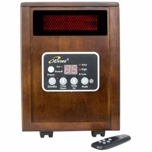 FastFurnishings Infrared Space Heater 1500W with Remote w/ Dark Walnut Wood Cabinet