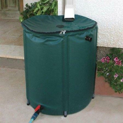 FastFurnishings Collapsible 50-Gallon Rain Barrel with Zippered Top in Green Color