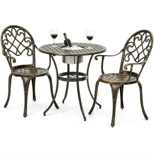 FastFurnishings Outdoor 3-Piece Patio Furniture Bistro Set in Antique Copper Finish