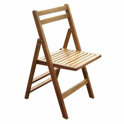 FastFurnishings Set of 4- Outdoor Wooden Folding Patio Chairs