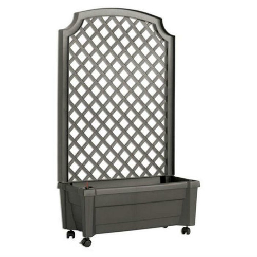 FastFurnishings Indoor/Outdoor Grey Polypropylene Self Watering Planter with Trellis on Wheels