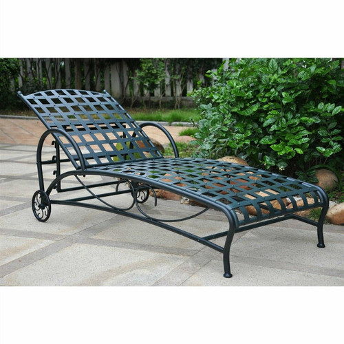 FastFurnishings Outdoor Multi-Position Iron Chaise Lounge Chair in Black