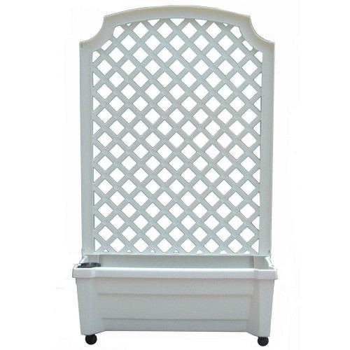 FastFurnishings Indoor/Outdoor White Plastic Self Watering Planter with Trellis on Wheels