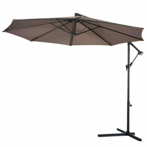 FastFurnishings Tan 10-Ft Outdoor Steel Pole Tilt Crank Offset Patio Umbrella