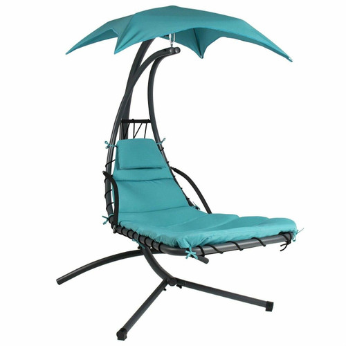 FastFurnishings Teal Single Person Sturdy Modern Chaise Lounger Hammock Chair Porch Swing
