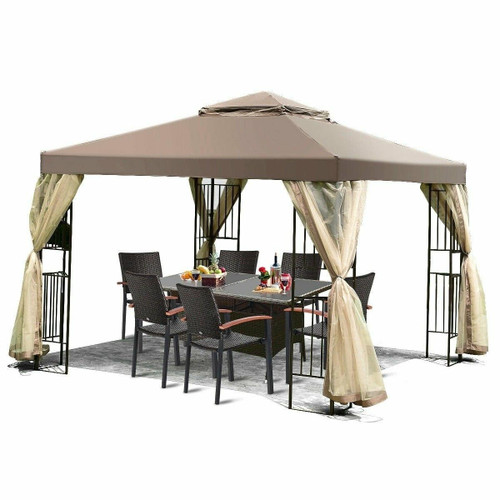 FastFurnishings 10 x 10 Ft Outdoor Patio Gazebo with Taupe Brown Canopy and Mesh Sidewalls
