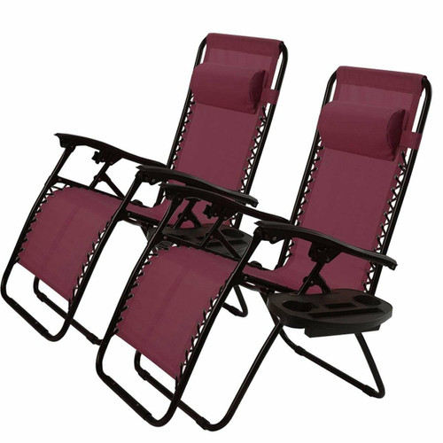 FastFurnishings Set of 2 Burgundy Wine Red Folding Outdoor Zero Gravity Lounge Chair