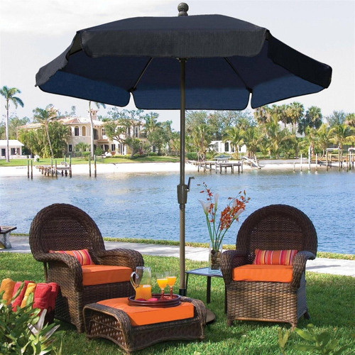 FastFurnishings 7.5-Ft Patio Umbrella for Outdoor Garden with Tilt Navy Shade and Champagne Pole