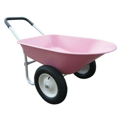 FastFurnishings Rust Proof Cushioned Handle Pink Poly Wheelbarrow